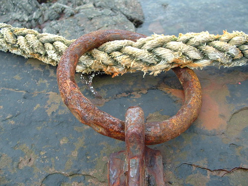 rope through a steel ring