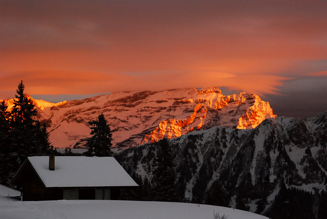 Sunset over Les Diablerets from Solacyre