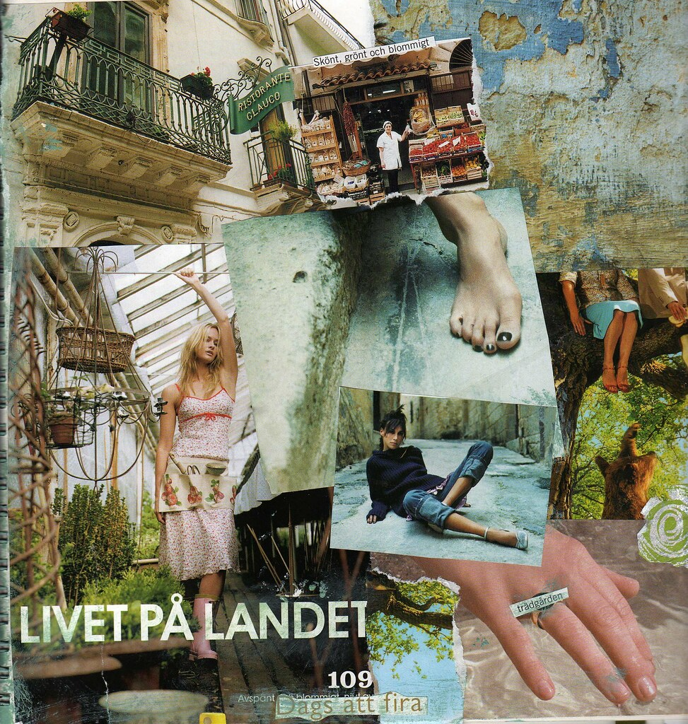 Square Art Journal Collage: Livet på landet, by iHanna #artjournaling