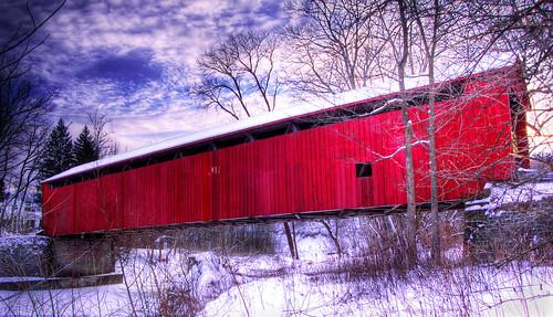 bridge winter snow creek d50 nikon antique coveredbridge hdr relic 3xp