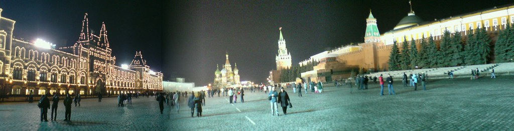 Panoramic Red Square at Night - Moscow, Russia