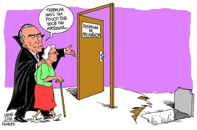 PEC propõe idade mínima de 65 anos para homens e mulheres se aposentarem e exige, no mínimo, 25 anos de contribuição - Créditos: Charge: Carlos Latuff
