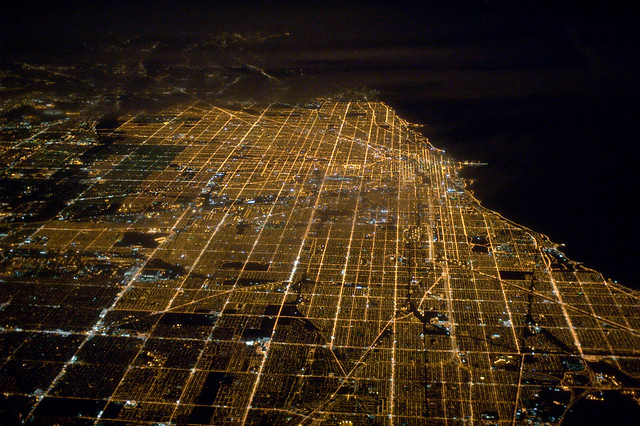 Chicago at night, from 36,000 feet