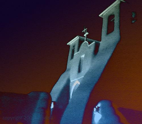 sanfrancisco snow newmexico southwest church night pueblo cell adobe taos rancho ranchos moocard