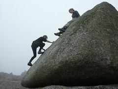 mountain(0.0), sports(0.0), mountaineering(0.0), sport climbing(0.0), ridge(0.0), extreme sport(0.0), terrain(0.0), adventure(1.0), boulder(1.0), recreation(1.0), outdoor recreation(1.0), rock climbing(1.0), climbing(1.0), rock(1.0), bouldering(1.0),