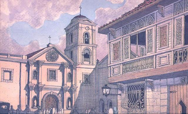 San Agustin Church Manila Drawing Medium 640 × 389