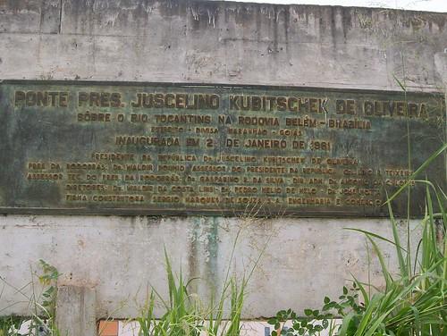 PLACA DE INAUGURAÇÃO DA PONTE PRES. JUSCELINO KUBITSCHEK