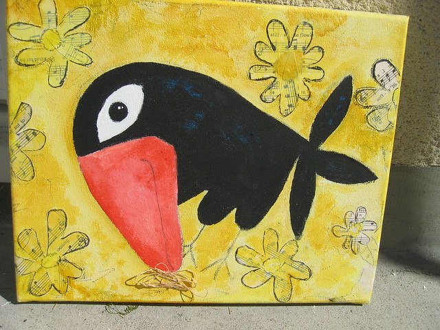 Smiling crow painting