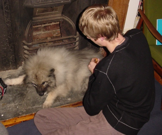 Sammy looking retarded by fireplace