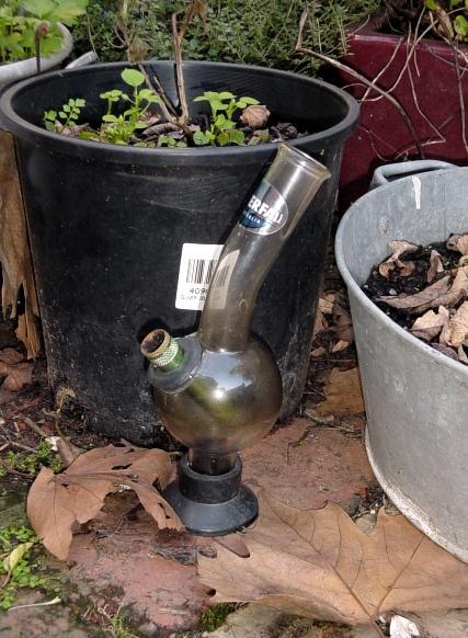 Disused bong in garden setting