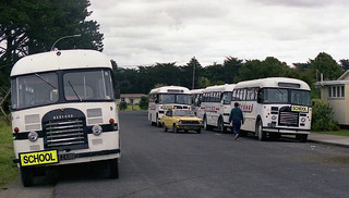 School buses, Taipa, Northland, New Zealand 1992