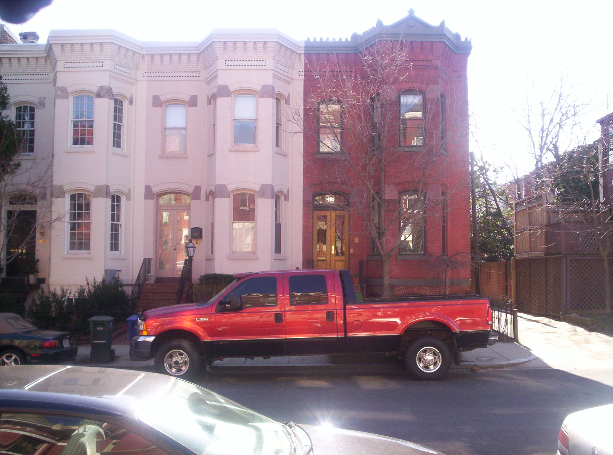 The Ford F-350 is wider than the typical Capitol Hill rowhouse