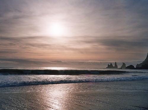 sea sun reflection beach silhouette clouds sunrise skyscape iceland heaven waves glow vik wash shore layers rise rolling stacks crashing northatlantic mywinners