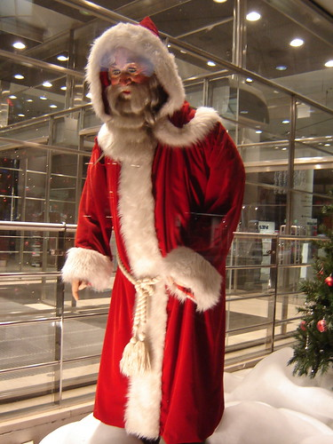 Old Santa Claus looks at modern Helsinki