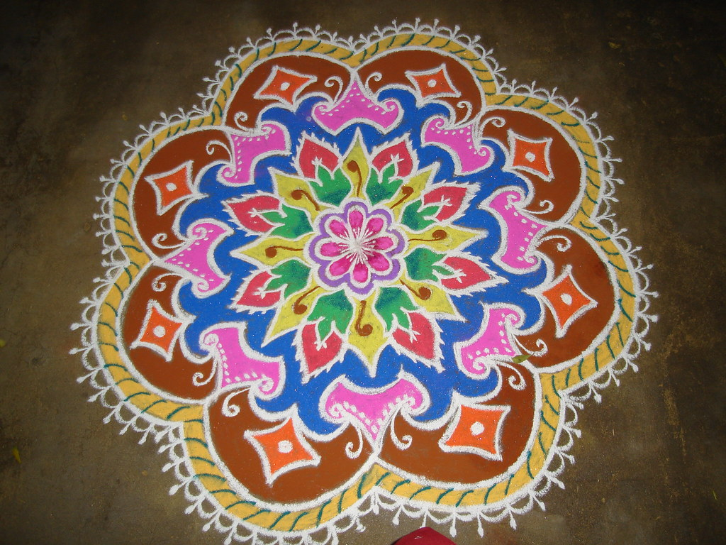 Rangoli a photo on flickriver for Floor rangoli design