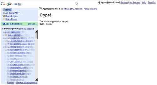 Google Reader Oops