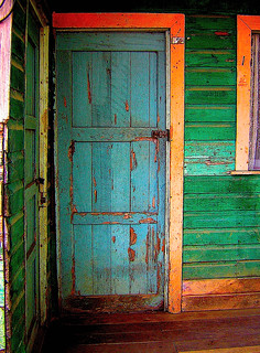 Colorful House Door- Costa Rica, Puerto Viejo