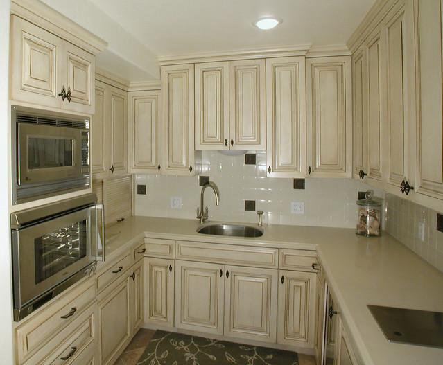Kitchen Cream Cabinets Dark Wood Floors