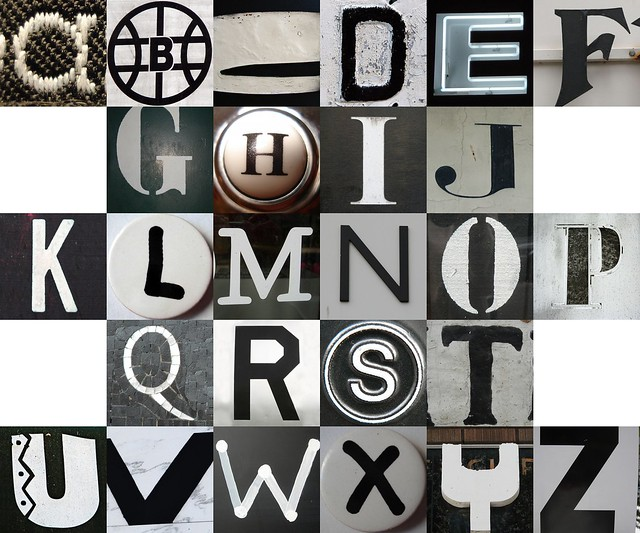 checkerboard black and white letters