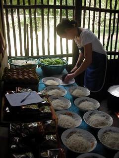 noodle market in Laos