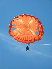 symmetry(0.0), flower(0.0), wheel(0.0), sailing(0.0), toy(0.0), parachute(1.0), sports(1.0), parasailing(1.0), parachuting(1.0), windsports(1.0), extreme sport(1.0), blue(1.0),