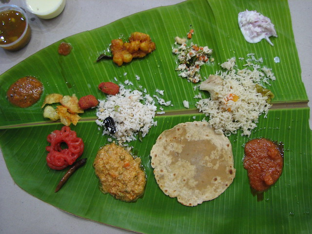 This was the first course of dinner at a traditional South Indian wedding