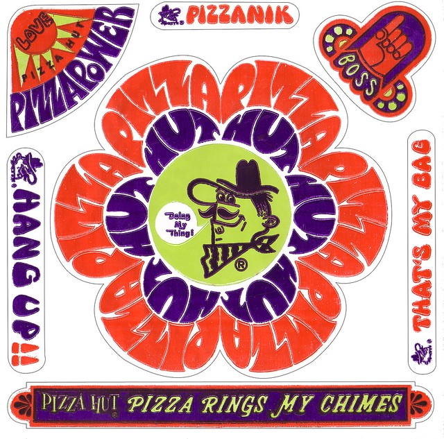 Pizza Hut Pete - Love Pizza Power Sticker - 1969
