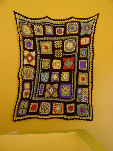 granny square sampler afghan: finished!