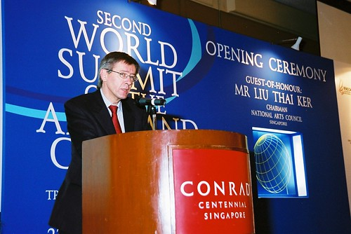 Risto Ruohonen, Chair of IFACCA, opens the second World Summit on Arts & Culture, Singapore, November 2003