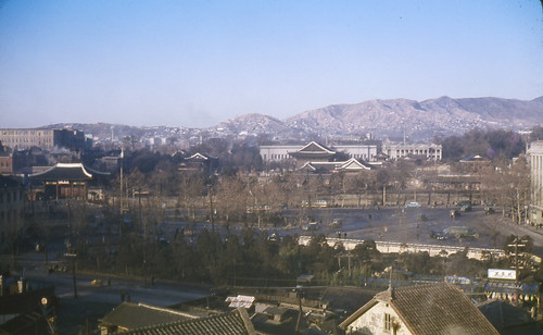 1959 View of Deoksugung Palace Grounds ~ From Chosun Hotel in Seoul, Korea