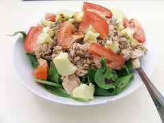 produce(0.0), tuna salad(0.0), meal(1.0), lunch(1.0), breakfast(1.0), panzanella(1.0), salad(1.0), vegetable(1.0), meat(1.0), fruit(1.0), food(1.0), dish(1.0), cuisine(1.0), caesar salad(1.0),