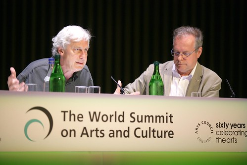 Gatéan Morency and Simon Brault  speak at the third World Summit on Arts and Culture