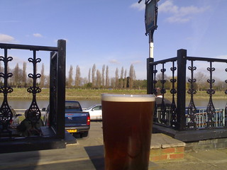 pint at the Ship, Mortlake