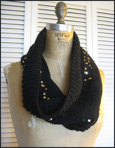 sequin stripe wool cowl