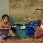 Little Girl in a Bath tub - Battambang, Cambodia
