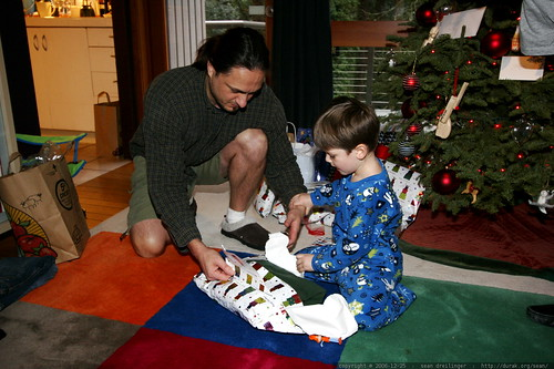sean gets help opening a present    MG 7580