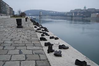 Shoe memorial on the Danube, Budapest, Hungary
