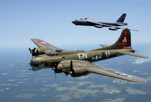 "Boeing B-17G Flying Fortress ""Thunderbird"" and Boeing B-52 Stratofortress 60-017 ""Peace Maker"""