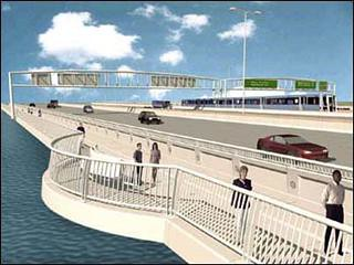 Rendering, pedestrian walkway and WMATA subway line on Wilson Bridge