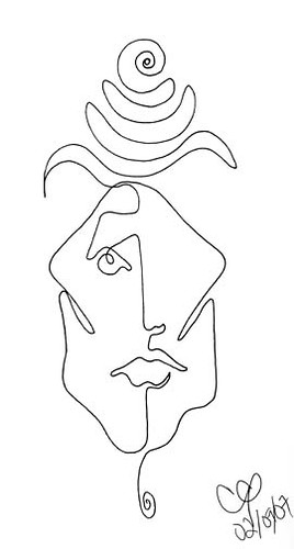 One Line Art Faces : One line face february