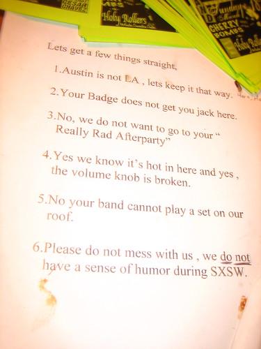 SXSW rules