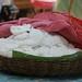Fresh Rice Noodles Under a Kromar (Cambodian Scarf) - Siem Reap, Cambodia