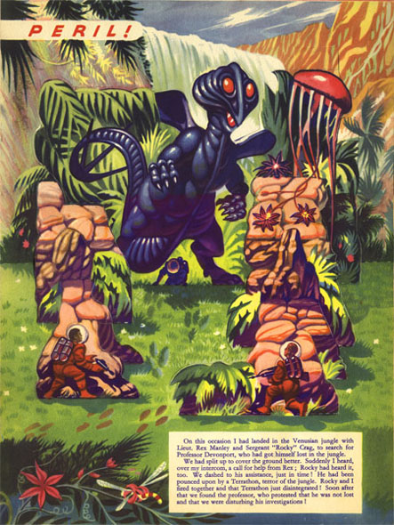 Peril in the Venusian jungle - A rescue operation results in the disintegration of a Terrathon and a safe return of fellow traveler, Professor Devonport.