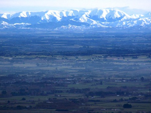 Southern Alps and Canterbury Plains - taken from P...
