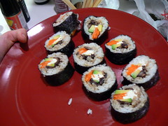 meal(1.0), california roll(1.0), sushi(1.0), gimbap(1.0), food(1.0), dish(1.0), cuisine(1.0), asian food(1.0),