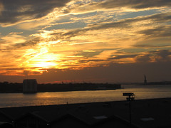 Sunset Over the Statue of Liberty