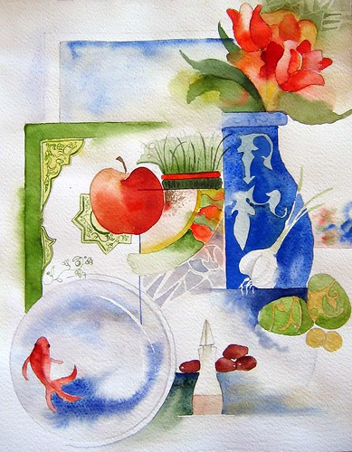 watercolor Haftsin . . . Happy Norouz