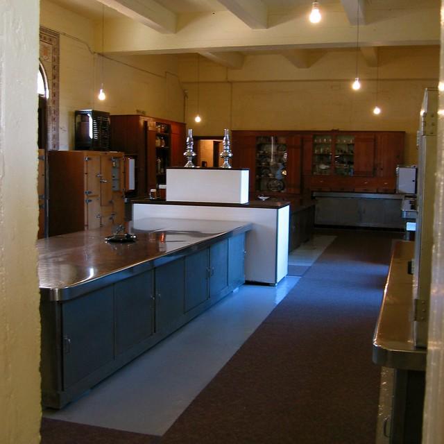 Modern Kitchen With Orange Marble Floor