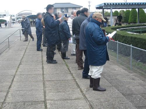 金沢競馬場のパドックを眺めるファンたち