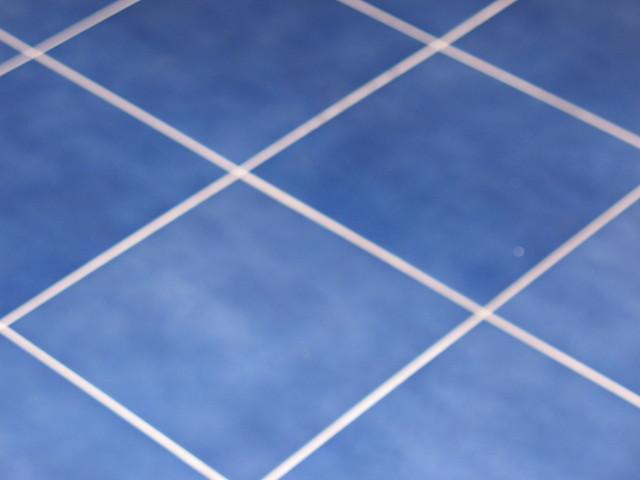 Blue tile floor no more brick linoleum by lark is for Blue linoleum floor tiles